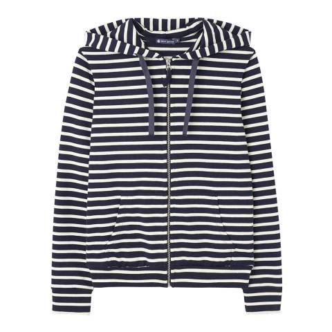 Petit Bateau Navy/White Stripe Zip Up Hoodie