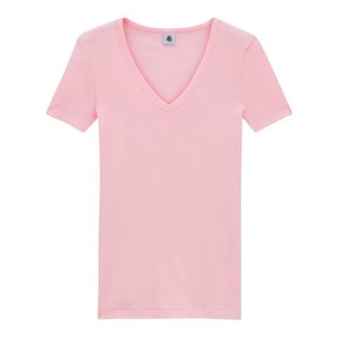 Petit Bateau Pink Original Rib V Neck T-Shirt