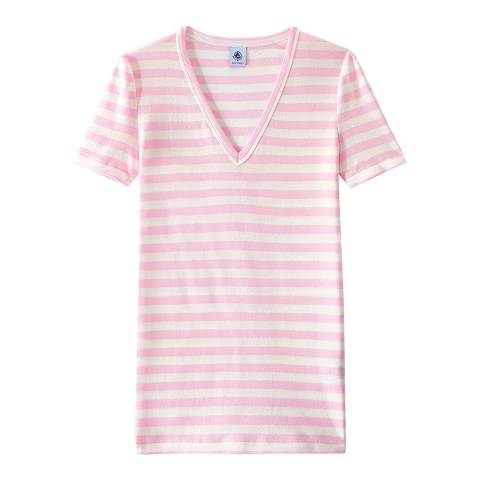 Petit Bateau Pink/White Striped Original Rib V Neck T-Shirt