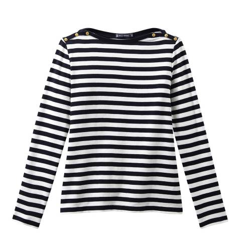 Petit Bateau Navy/White Long Sleeve Cotton Top