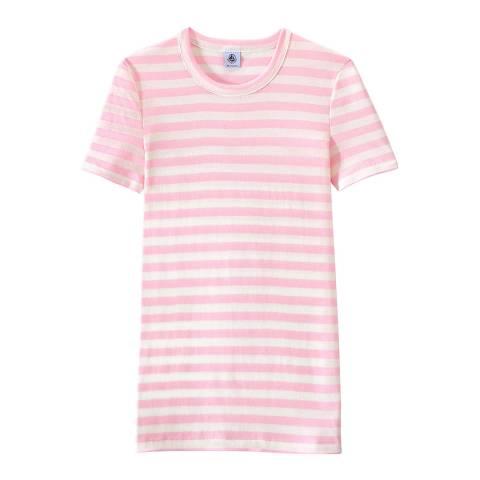 Petit Bateau Pink/White Heritage Striped Rib T-Shirt