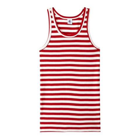 Petit Bateau Red/White Heritage Striped Rib Vest Top