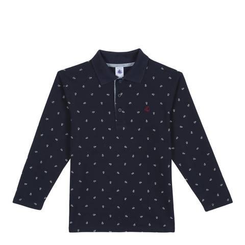 Petit Bateau Navy Long Sleeved Print Polo Shirt