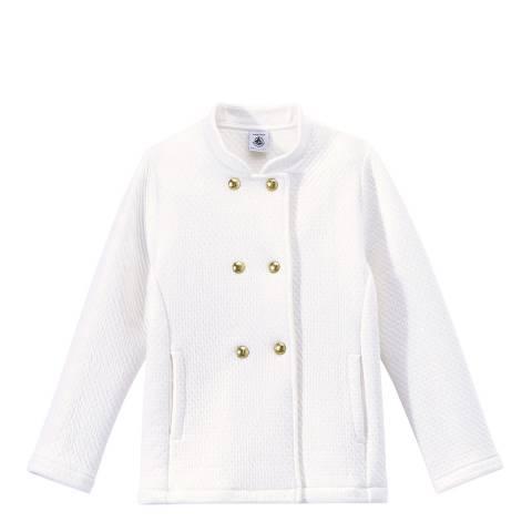 Petit Bateau White Quilted Double Knit Coat