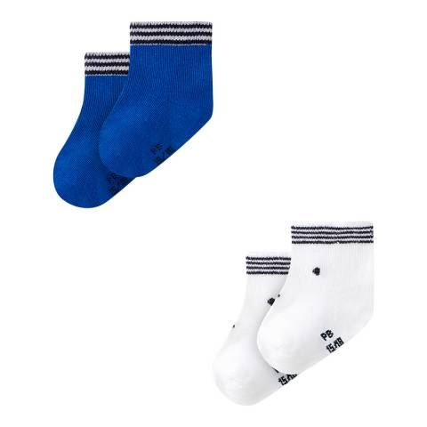 Petit Bateau Baby's Unisex Blue/White Two Sock Set
