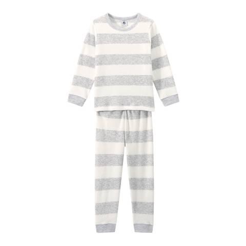 Petit Bateau Grey Striped Terry Cloth Bouclette Pyjamas