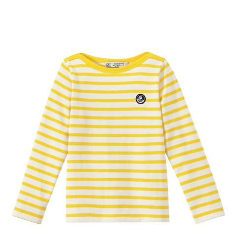 Petit Bateau Yellow Long Sleeve Striped T-Shirt