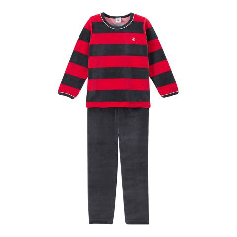 Petit Bateau Red/Navy Terry Velour Pyjamas