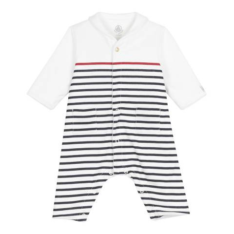 Petit Bateau Baby Boy's Navy/Red Striped Coverall With Pea Jacket Collar