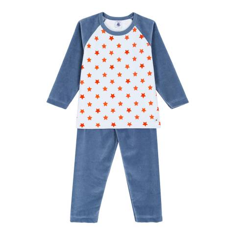 Petit Bateau Blue/Red Star Printed Velour Pyjamas