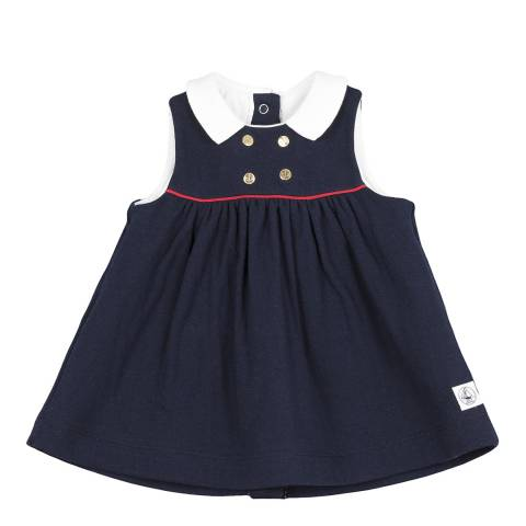 Petit Bateau Baby Girl's Sleeveless Navy Dress In Tube Knit