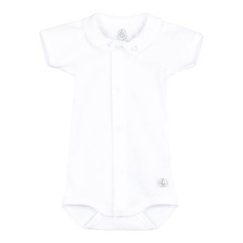 Petit Bateau Baby Boy's Ecru Bodysuit With Embroided Collar