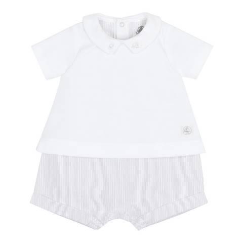 Petit Bateau Baby Boy's Beige Dual Fabric Romper