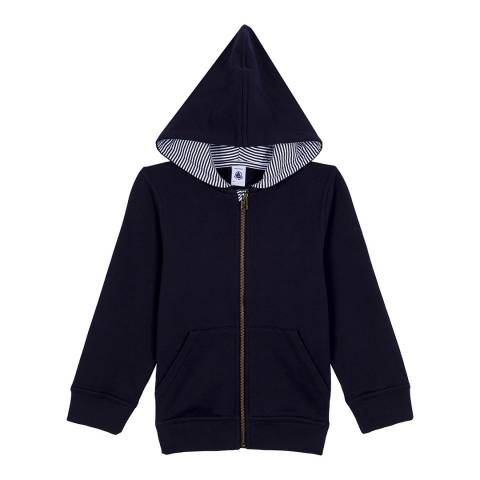 Petit Bateau Navy Zippered Sweatshirt With A Hood
