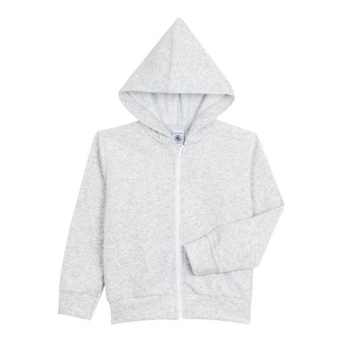 Petit Bateau Grey Hooded Jacket In Terrycloth Bouclette