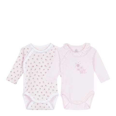 Petit Bateau Baby Girl's Set of 2 Newborn LongSleeved Bodysuits