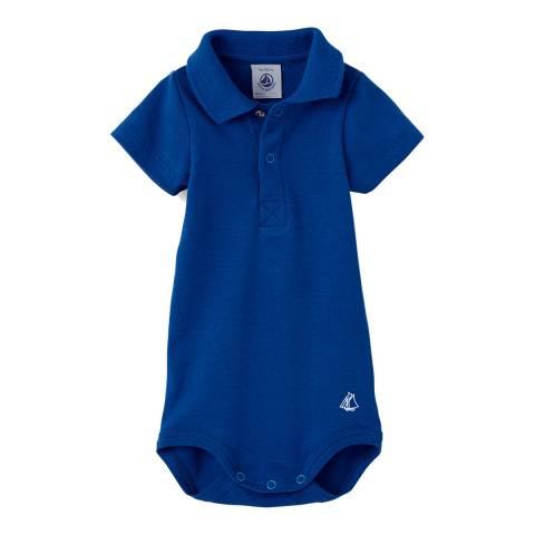 Petit Bateau Baby Boy's Blue Bodysuit With Collar