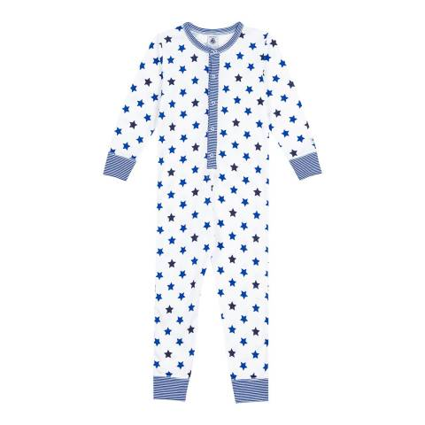 Petit Bateau Blue Jumpsuit Pyjamas With A Star Print