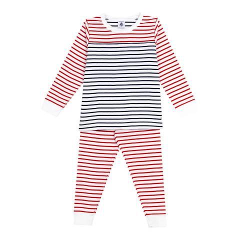Petit Bateau Red/Navy Striped Pyjamas