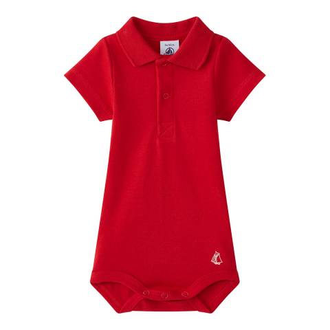 Petit Bateau Baby Boy's Red Bodysuit With Collar
