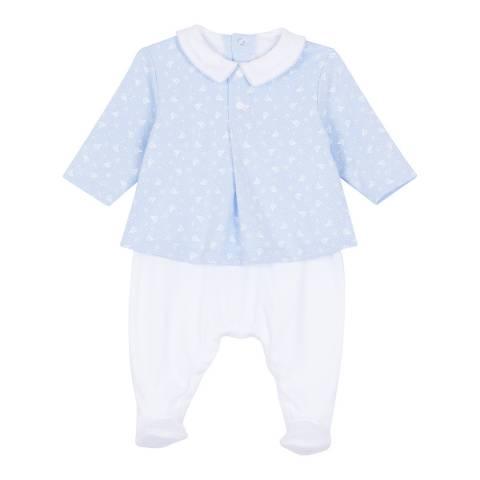 Petit Bateau Baby Boy's Blue Dual-Fabric Chemisette Coverall