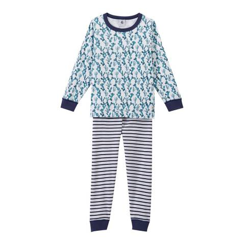 Petit Bateau Blue Multi Pyjamas With Print And Stripes
