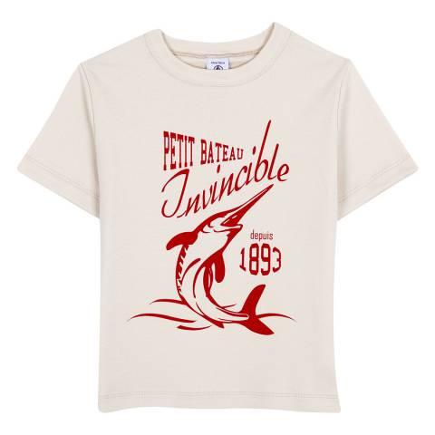 Petit Bateau Cream T-Shirt With Motif