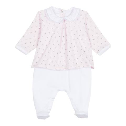 Petit Bateau Baby Girl's Pink Dual-Fabric Chemisette Coverall