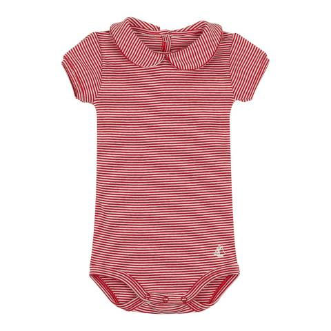 Petit Bateau Baby Girl's Red/Cream Striped Bodysuit With Collar