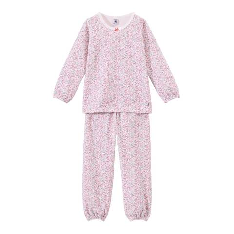Petit Bateau Pink Multi Print Velour Pyjamas