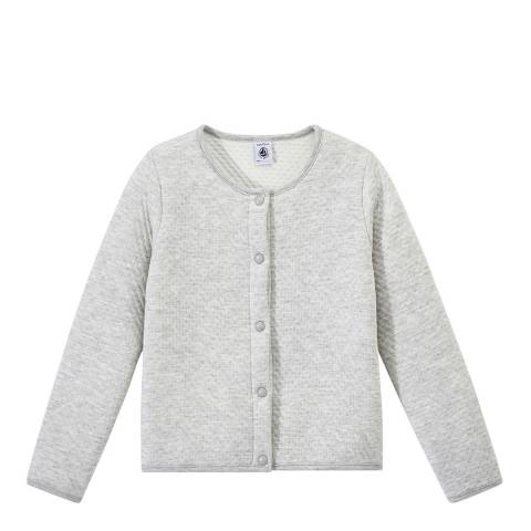 Petit Bateau Grey Quilted Double Knit Cardigan