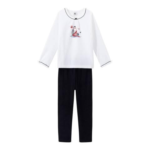 Petit Bateau Navy Velour Pyjamas
