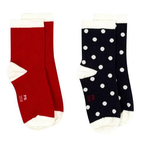 Petit Bateau Red/Navy 2 Pairs Of Socks Set