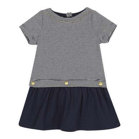 Petit Bateau Baby Girl's Navy Milleraies Striped Dress
