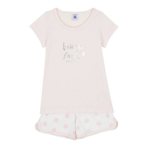 Petit Bateau Light Pink Two Fabric Shortie Pyjamas With Silkscreen Motif