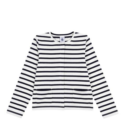 Petit Bateau White/Navy Cardigan In Heavyweight Striped Jersey