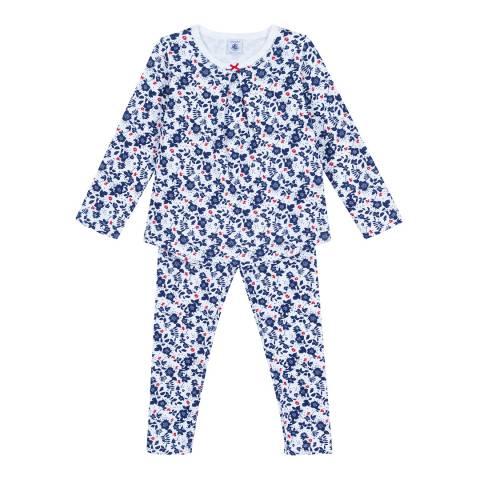 Petit Bateau Blue Multi Floral Print Double Knit Pyjamas