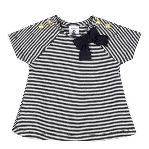 Petit Bateau Baby Girl's Navy/Cream Striped T-Shirt