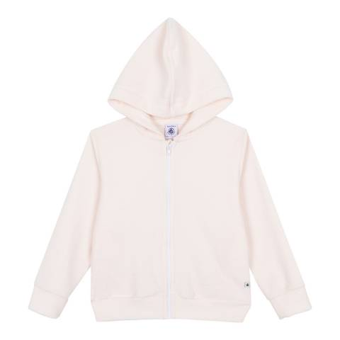 Petit Bateau Light Pink Hooded Jacket In Fine Terry Cloth Bouclette