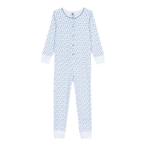 Petit Bateau Blue Flower Print Jumpsuit Pyjamas