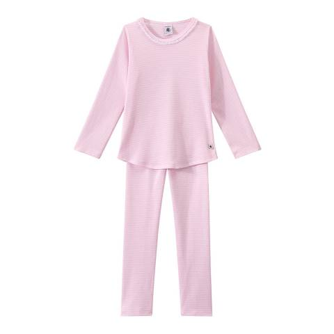 Petit Bateau Pink Milleraies Striped Pyjamas