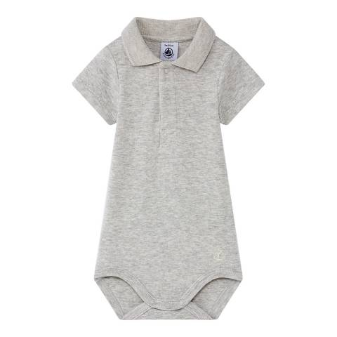 Petit Bateau Baby Boy's Grey Bodysuit With Collar