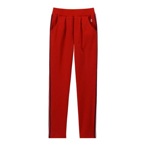 Petit Bateau Red Knit Pants With Three Colour Braiding