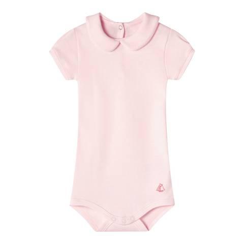 Petit Bateau Baby Girl's Light Pink Bodysuit With Collar