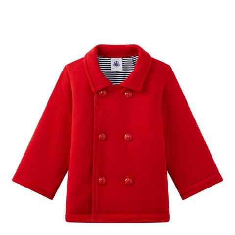 Petit Bateau Baby's Unisex Red Fleece Pea Jacket