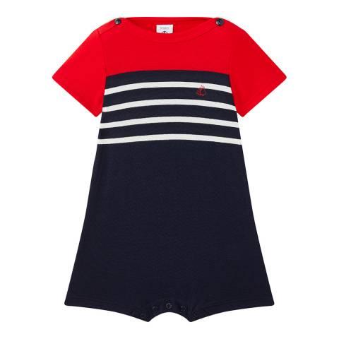 Petit Bateau Baby Boy's Navy Jersey Romper
