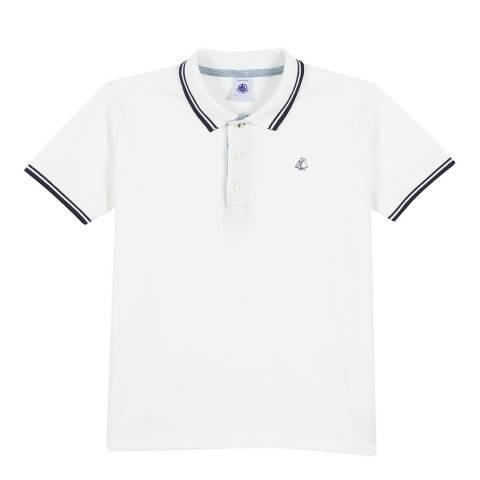 Petit Bateau White Polo Shirt In Pique Jersey