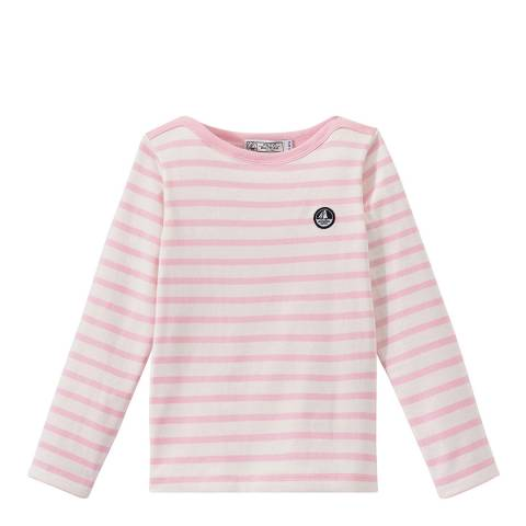 Petit Bateau Pink Striped Long Sleeve Top