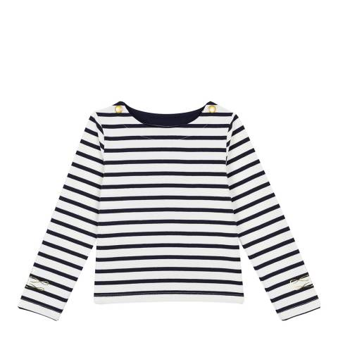 Petit Bateau Navy Long-Sleeved Sailor Top In Heavyweight Jersey