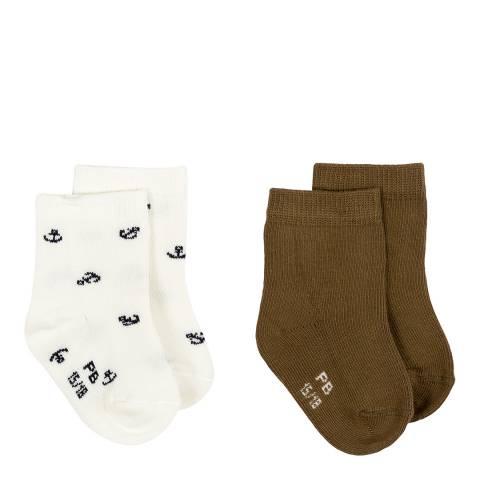 Petit Bateau Baby Boy's Brown Two Sock Set